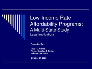 Low-Income Rate Affordability Programs: A Multi-State Study Legal Implications