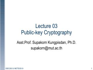 Lecture 03  Public-key Cryptography