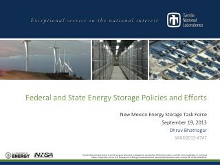 Federal and State Energy Storage Policies and Efforts