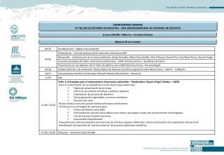 CRONOGRAMA GENERAL  IV TALLER DE EDITORES DE REVISTAS – RED IBEROAMERICANA DE EDITORES DE REVISTAS