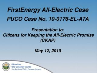 FirstEnergy all-electric case - timeline