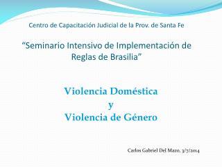 Violencia Dom é stica y  Violencia de G é nero Carlos Gabriel Del Mazo, 3/7/2014