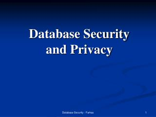 Database Security and Privacy