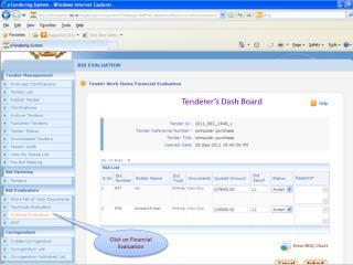 Tenderer's Dash Board
