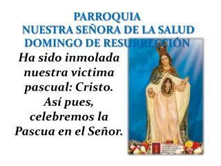 PARROQUIA  NUESTRA SEÑORA DE LA SALUD DOMINGO DE RESURRECCIÓN