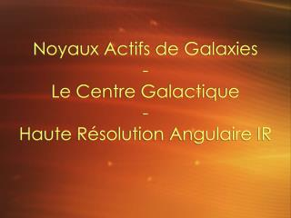 Noyaux Actifs de Galaxies - Le Centre Galactique - Haute R�solution Angulaire IR