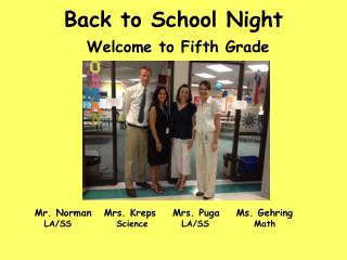 Back to School Night Welcome to Fifth Grade