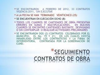 SEGUIMIENTO CONTRATOS DE OBRA