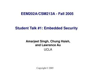 Student Talk #1: Embedded Security