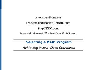Selecting a Math Program Achieving World-Class Standards