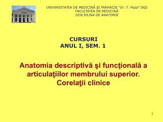 Anatomia descriptivă şi funcţională a articulaţiilor membrului superior. Corelaţii clinice