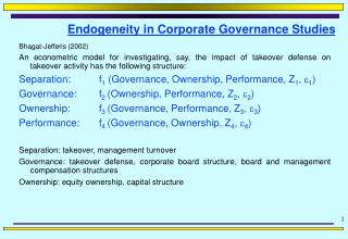 Endogeneity in Corporate Governance Studies