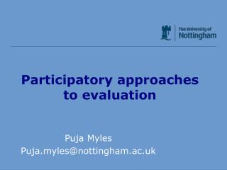 Participatory approaches to evaluation