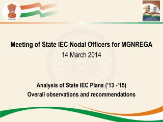 Meeting of State IEC Nodal Officers for MGNREGA 14 March 2014