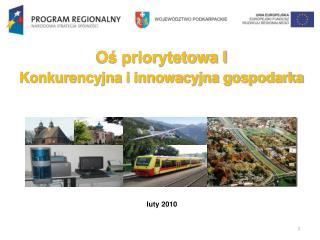 Oś priorytetowa I  Konkurencyjna  i innowacyjna  gospodarka