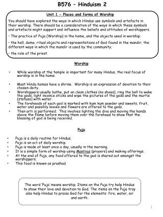 Unit 1 - Places and forms of Worship