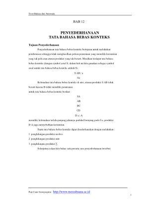 Teori Bahasa dan Automata BAB 12 PENYEDERHANAAN TATA BAHASA BEBAS KONTEKS Tujuan Penyederhanaan