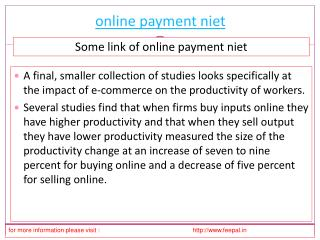 New update about online payment niet