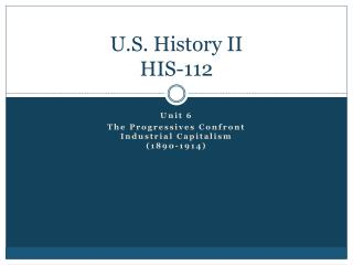 U.S. History II HIS-112