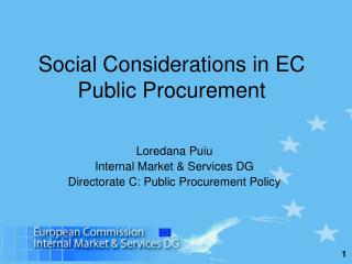 Social Considerations in EC Public Procurement