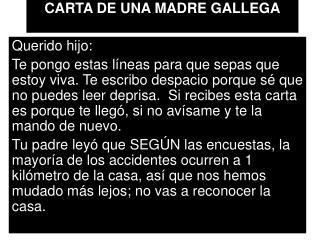 CARTA DE UNA MADRE GALLEGA