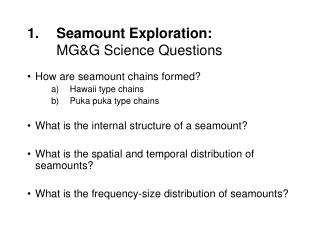 Seamount Exploration: MG&G Science Questions