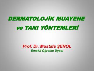 DERMATOLOJİK MUAYENE  ve TANI YÖNTEMLERİ Prof. Dr. Mustafa ŞENOL Emekli Öğretim Üyesi