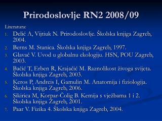Prirodoslovlje RN2 2008/09