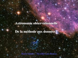 Astronomie observationnelle De la méthode aux données