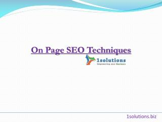On Page SEO Tips & Techniques