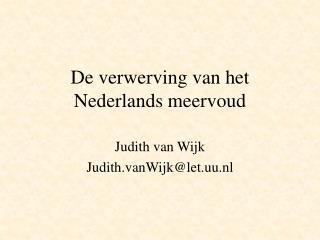 De verwerving van het Nederlands meervoud
