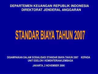 DEPARTEMEN KEUANGAN REPUBLIK INDONESIA DIREKTORAT JENDERAL ANGGARAN