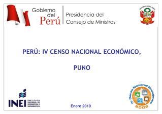 PERÚ: IV CENSO NACIONAL ECONÓMICO,  PUNO