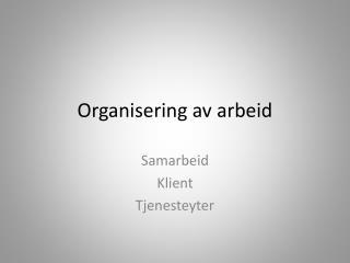 Organisering av arbeid