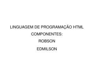 LINGUAGEM DE PROGRAMAÇÃO HTML COMPONENTES: ROBSON EDMILSON