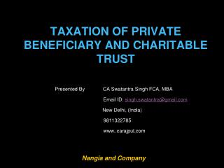 TAXATION OF PRIVATE BENEFICIARY AND CHARITABLE TRUST
