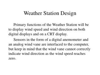 Weather Station Design