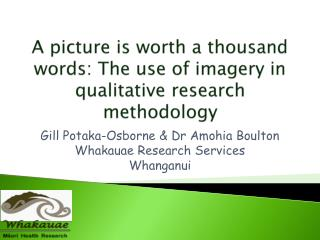 A picture  is worth a thousand words:  The  use of imagery in qualitative research  methodology