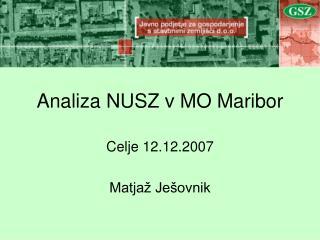 Analiza NUSZ v MO Maribor