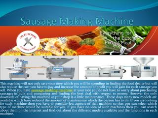 Sausage Making Machine and Butcher Shop Supplies