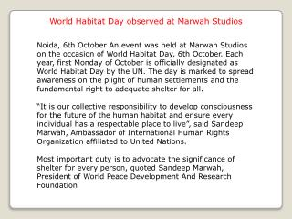 World Habitat Day observed at Marwah Studios