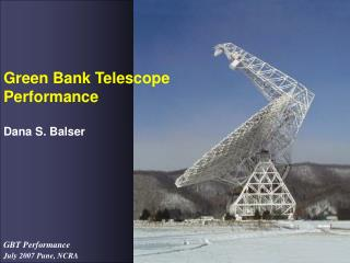 Green Bank Telescope Performance