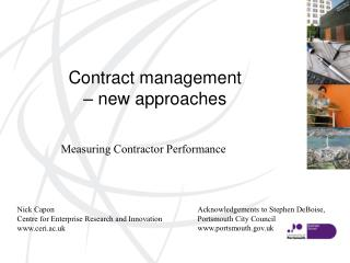 Contract management  � new approaches
