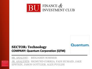 SECTOR: Technology COMPANY: Quantum Corporation (QTM)