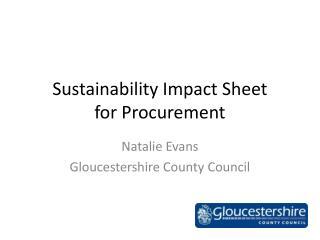 Sustainability Impact Sheet  for Procurement