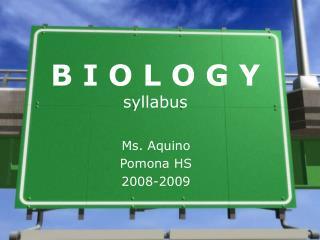 B I O L O G Y syllabus