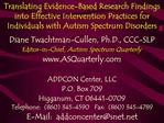 Translating Evidence-Based Research Findings into Effective Intervention Practices for Individuals with Autism Spectrum