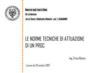 Universit� degli Studi di Udine CdL in Architettura