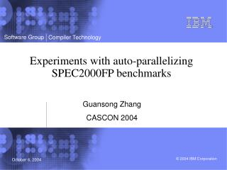 Experiments with auto-parallelizing SPEC2000FP benchmarks