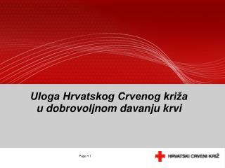 Uloga Hrvatskog Crvenog križa  u dobrovoljnom davanju krvi